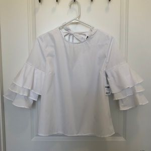 White Ruffle Bell Sleeve Top